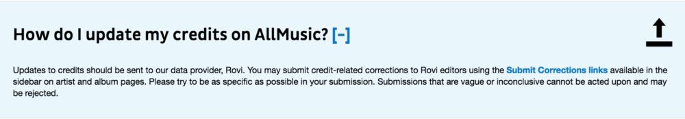 AllMusic Credit Correction